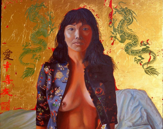 """ A Day in the life of an Imperial Concubine "", oil and 24 kt gold leaf on panel, 16 x 20 inches, framed"