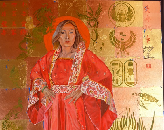 The Empress, oil and gold leaf/copper leaf on canvas, 30 x 40 inches, framed