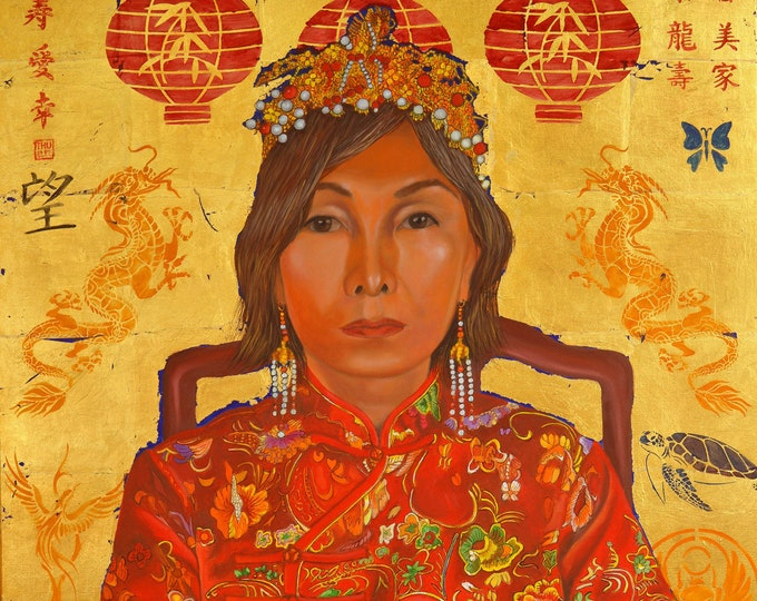 Made in China, oil and gold leaf on canvas, 30 x 40 inches