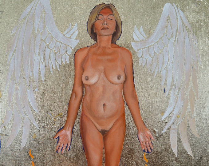Risen, oil and 24 kt gold leaf on panel, image size 16 x 20 inches, framed size 21 x 25 inches