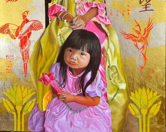 """The Golden Princesses"", oil and 24 kt gold on panel, 24 x 30 inches, ready to hang without a frame."