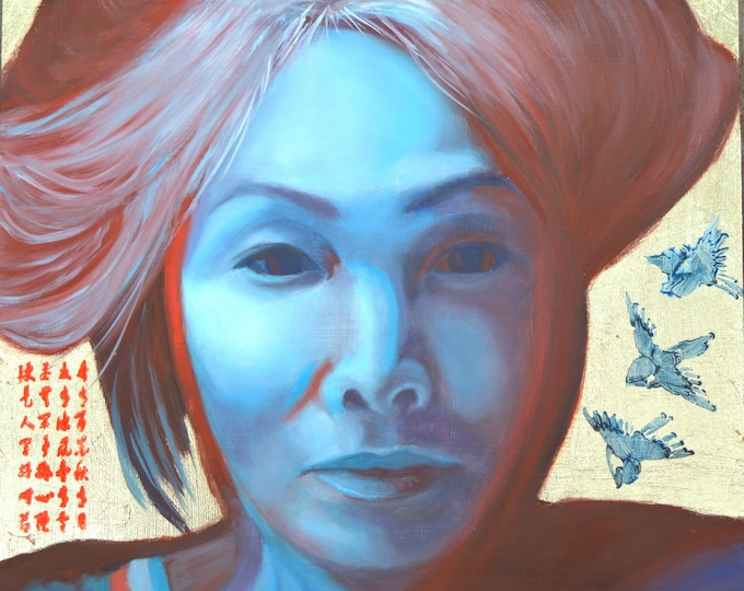 Portrait in Blue, oil and 24 kt gold leaf on aluminum panel, image size 12 x 12 inches, frame size 17 x 17 inches.
