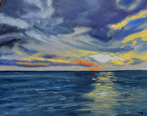 Kona Sunset, oil on panel, image size 8 x 10 inches, ready to hang without frame