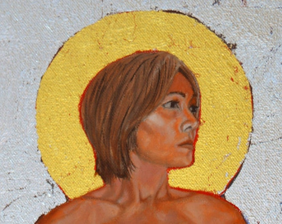 The Saint, oil and 24 kt gold leaf on canvas, 12 x 24 inches