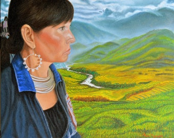 Girl from Sapa, oil on canvas, image size 16 x 20 inches, framed