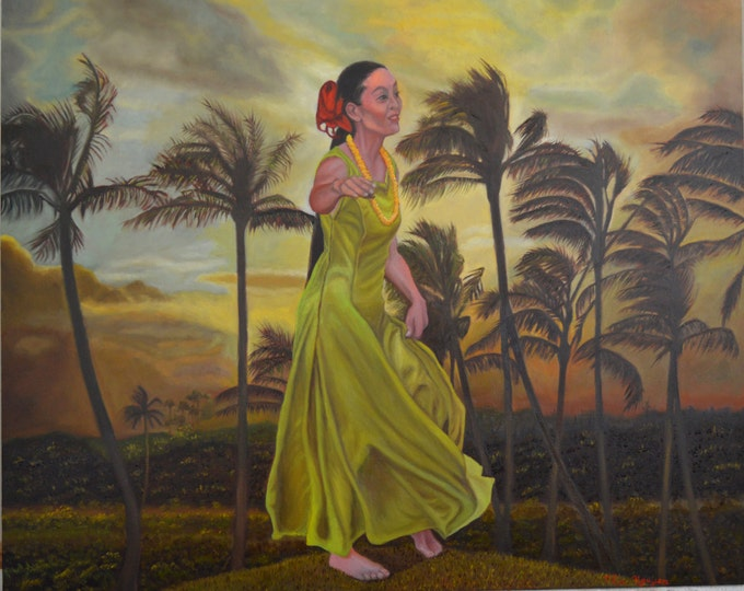 The Green Dress, oil on panel, image size 16 x 20 inches, framed