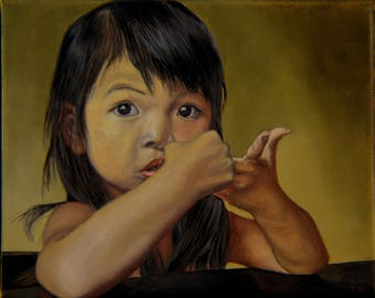 Amelie-An 9, oil on linen, image size 8 x 10 inches, framed