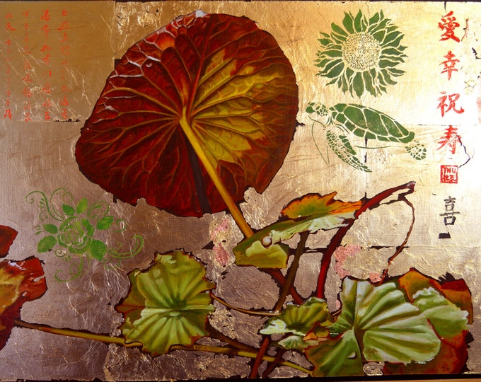 Lily Pad 18, oil and gold leaf on panel, 16 x 21 inches, framed