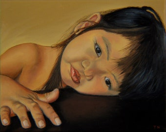 Amelie-An 11, oil on linen, 8 x 10 inches, framed