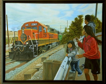 Burlington Northern Santa Fe, oil on linen, image size 16 x 20 inches, framed