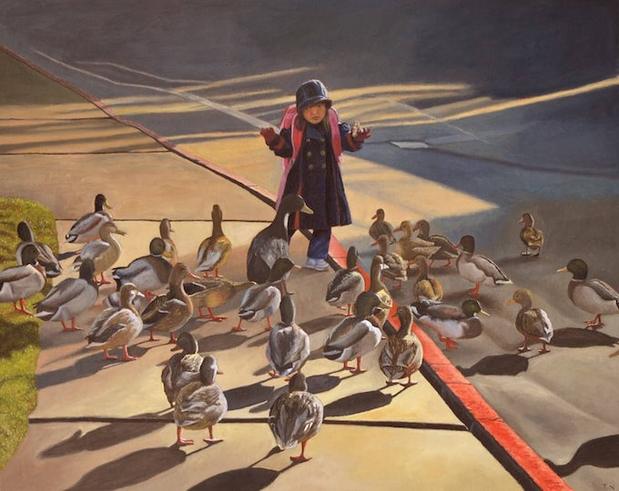 Amelie-An and her ducks, oil on panel, image size 16 x 20 inches, ready to hang without frame