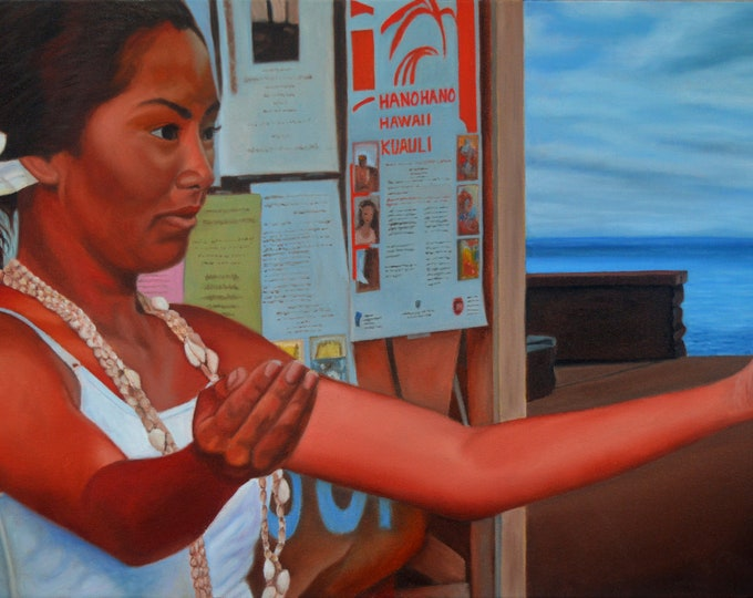 Hanohano Hawaii Kuali , oil on canvas, 15 x 30 inches