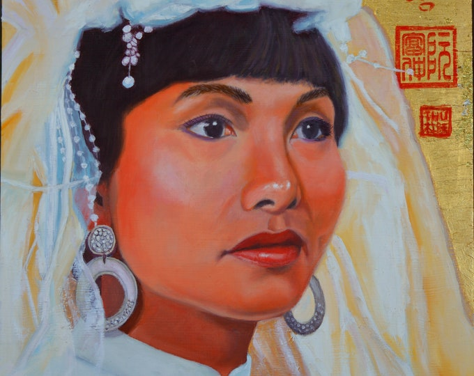 A Vietnamese Bride/cô dâu, oil and 24 kt gold leaf on aluminum panel, image size 12 x 12 inches, frame size 17 x 17 inches.