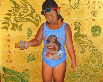 My little sunshine, oil and gold leaf on canvas, 36 x 36 inches, wired on back ready to hang without frame