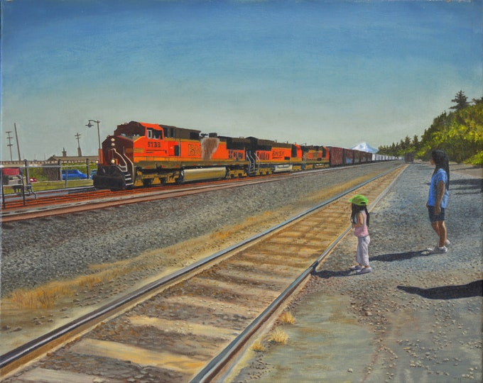 Passing Train, oil on linen, image size 16 x 20 inches, framed