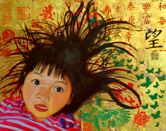 Bad Hair Day, oil and 24 kt gold leaf on panel, 16 x 20 inches