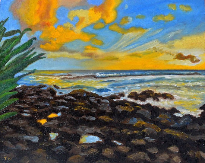 gifts,original oil painting, landscape painting, wall art, hawaii, hawaii vacation, beach, sunset on beach, Puako Sunset