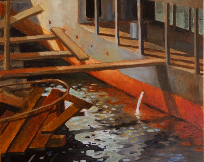 Center for wooden boats Seattle Washington, oil on panel, 13 x 12 inches, unframed