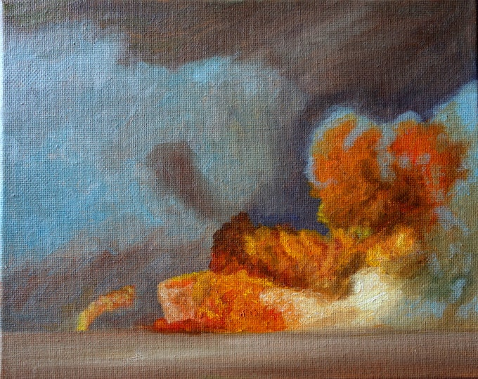 Fire and sand, oil on canvas, 8 x 10 inches, plein air painting