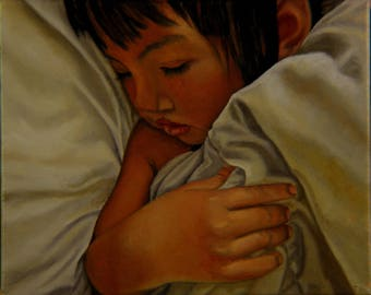 original art,oil,painting,linen,portrait,child,sleeping,sheets,bedroom,wall art,8x10 painting,vietnamese girl,baby,cute,love,day nap,warm