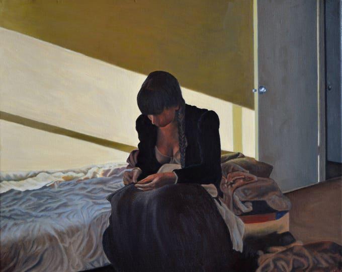 Mending, oil on linen, 16 x 20 inches, framed
