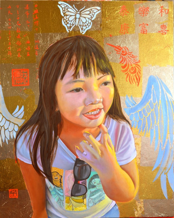 Cần Thơ Angel, oil and 24 kt gold leaf on panel, 16 x 20 inches, framed