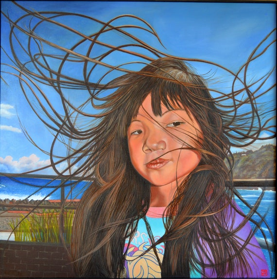 Trade Wind Day, oil on canvas, image size 36 x 36 inches, framed