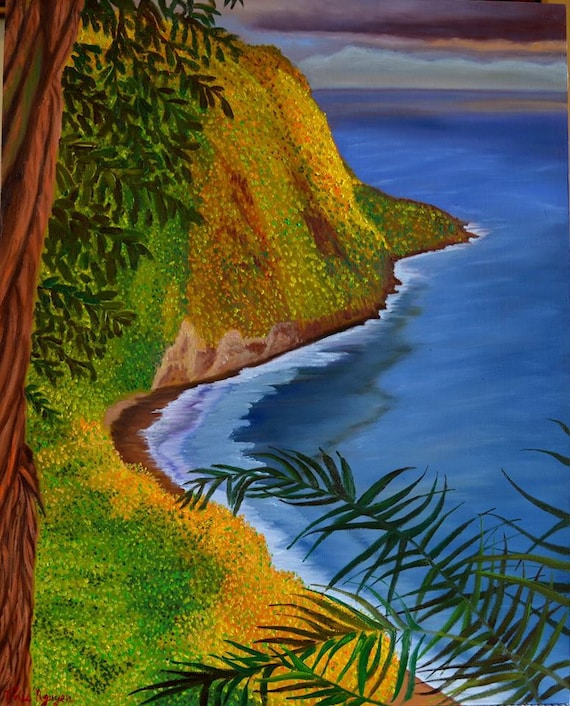 Waipio, oil on panel, image size 16 x 20 inches, ready to hang without frame