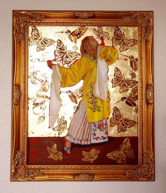 Joyful Love, oil and 24 kt gold leaf on panel, framed, image size 16 x 20 inches
