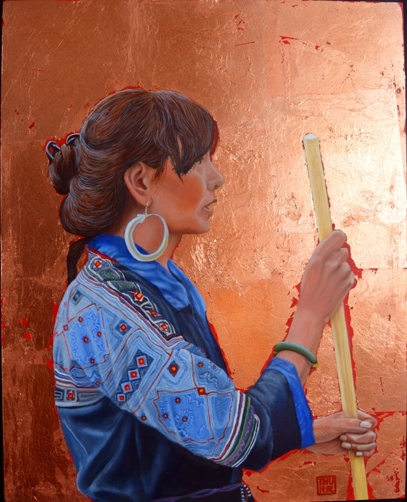 The Black Hmong Princess, 16 x 20 inches, oil and copper leaf on panel, framed
