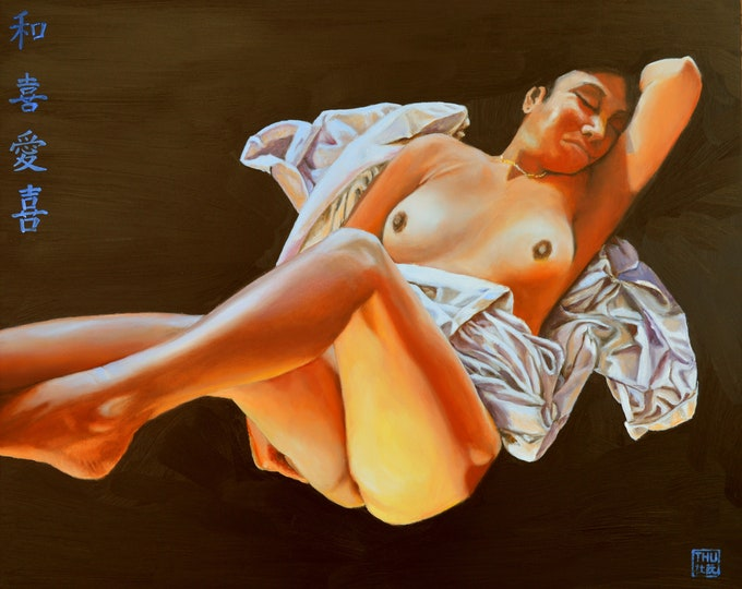 Floating, oil on panel, image size 16 x 20 inches, frame size 20 x 24 inches