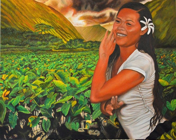 The Taro Farm Girl, 24 x 30 inches, oil on canvas