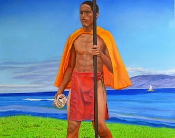 Hawaiian Prince, oil on canvas, image size 24 x 30 inches, ready to hang without frame