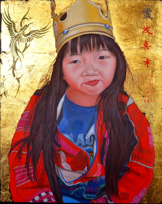 The Burger King Crown, oil and gold leaf on panel, 16 x 20 inches, framed ready to hang