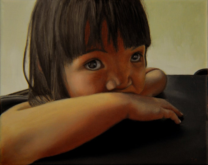 Amelie-An 7, oil on linen, framed, 8 x 10 inches