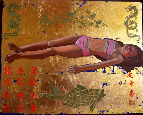 The Fallen Barbie, oil and gold leaf on panel, 16 x 20 inches, framed
