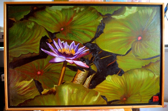 Lotus One, oil on panel, 21.5 x 14 inches, framed