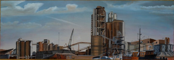 Port of Seattle, oil on panel, 12 x 36 inches, CLEARANCE SALE