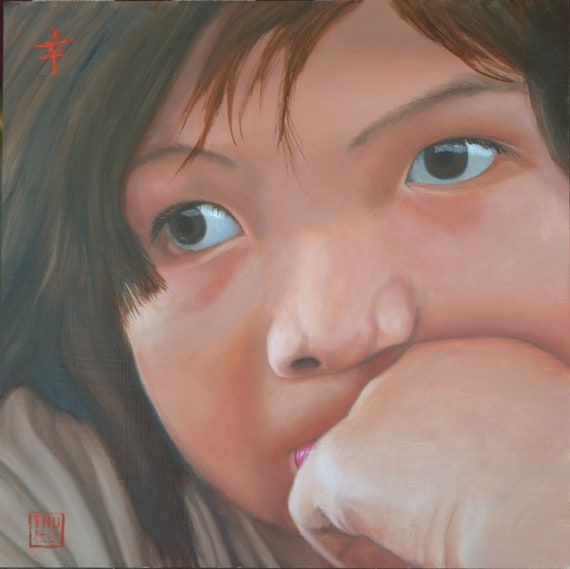 A Sad Story, oil on aluminum panel, image size 12 x 12 inches, frame size 17 x 17 inches