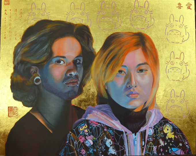 Against All Odds, oil and 24 kt gold leaf on panel, 24 x 30 inches, ready to be hung without a frame