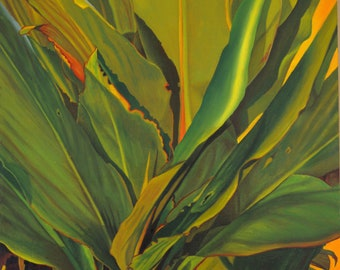 Bobo, original oil painting, plant painting, tropical plant, wall art, home decor, happy art, tropical paradise,Hawaii vacation,Thu Nguyen,