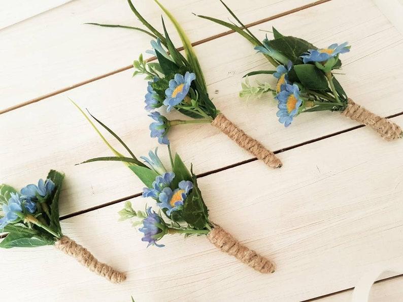 Wedding boutonniere Blue boutonniere for men Rustic boutonniere,Navy Blue Corsage,