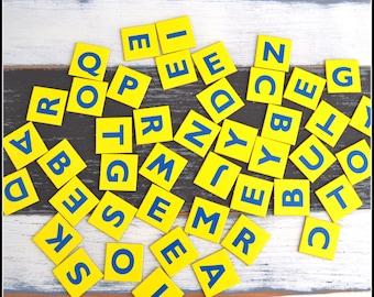 Vintage Game Pieces - Cardboard Game Tiles - Anagrams - Alphabet - Letters - (44) Vintage Pieces - Vintage Games