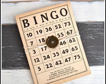 Set of Six (6) Vintage Bingo Boards - Bingo Cards - Cardboard BINGO Game Boards - Neutral Beige Cards