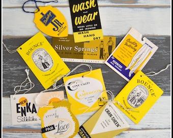 Vintage Garment Tags - Yellow Themed Assortment - Assorted Hang Tags - String Tags - Tag Lot - Vintage Tags - Paper Ephemera