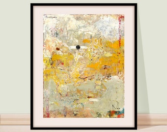 Abstract landscape, Wall Art, Abstract Painting, Modern abstract art, Yellow gray landscape, Abstract Art giclee Print, Fine art, Yellow sky