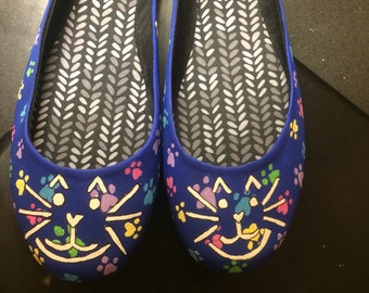 Handpainted Cat Shoes
