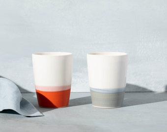 cup bowl porcelain grey turquoise red orange yellow nordic decor minimum of purchase 2 glasses