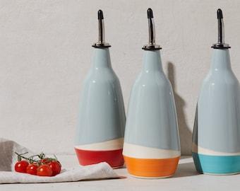 dispenser for olive oil, vinegar cruet  handmade grey orange red turquoise bottle in ceramic