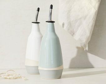 dispenser for olive oil, vinegar cruet handmade grey white bottle in ceramic